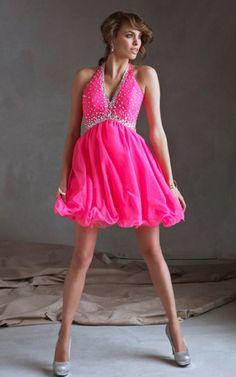 Classic Beaded Neon Halter Style Short Layered Homecoming Dress MIYA