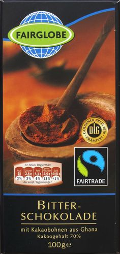 Fairglobe Bittere, pure chocolade - (Lidl) Melk-, gluten,- en sojavrij