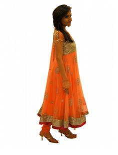 Peach Colour Net Anarkalli Design!    Peach colour net anarkali with heavy embroidery on the body, border and dupatta borders. This easy on the eyes candy coloured dress is perfect for an evening of fun, dance and masti.    For more Visit us @, www.czari.in/women