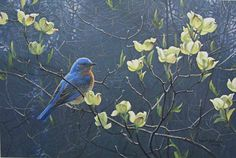 Robert Bateman Bluebird and Blossoms