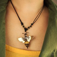 Honey Bee Pendant Whimsical Bug Necklace Handmade Artisan Jewelry