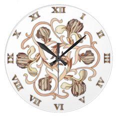 Stained Glass Flower Design - Round Clock 3