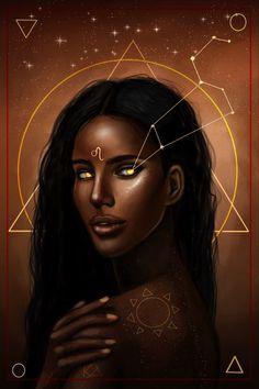 Beautiful Dark Art, Black Love Art, Black Girl Art, Zodiac Art, Leo Zodiac, Zodiac Characters, Graffiti Wall Art, Black Art Pictures, Goddess Art