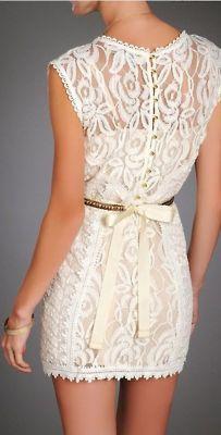White lace dress with silver bow - elegant, short dress Look Fashion, Teen Fashion, Fashion Beauty, Womens Fashion, Dress Fashion, Fashion Clothes, Luxury Fashion, Pretty Dresses, Beautiful Dresses