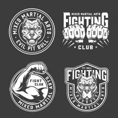 Fight Club, Club Design, Graphic Design Studios, Ink Illustrations, Mixed Martial Arts, Logo Design Inspiration, Art Logo, Vector Design, Monochrome
