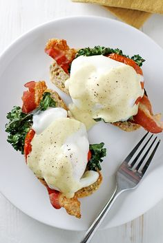 (Healthier) Bacon, Kale and Roasted Tomato Eggs Benedict