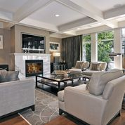 Transitional Family Room - transitional - family room - chicago Wondering if this layout would work in our living room?