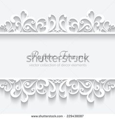 Abstract paper frame with swirly border ornament, header, white vector background, eps10 - stock vector