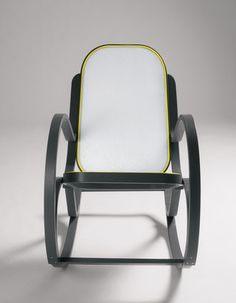 Rock Me Wooden Rocking Chair in Grey & Yellow design by Seletti