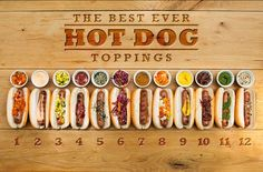 "12 Hot Dog Toppings (from Soy-Lime Ketchup to Spicy Relishes like ""Charred Corn and Pepperoncini Relish with Basil"" & ""Caramelized Kimchi"")"