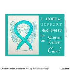 Ovarian Cancer Awareness Ribbon Teal Angel Greeting Card