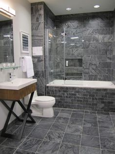 Bath--Love the tile color and design! (Perfect color, layout & size)