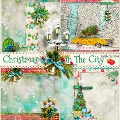 A set of four Christmas themed stacked papers designed to coordinate with the Christmas In The City collection from Raspberry Road.