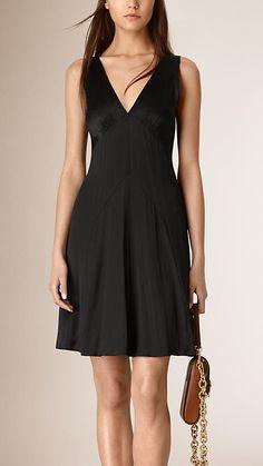 Black Sleeveless Silk Dress - Image 1