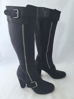 CHLOÉ Black Leather Boots Zippers And Block Heels Size 38.5 #Chlo #KneeHighBoots