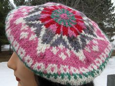 Hand Knit Tam / Beret Fair Isle Knit Hat by NorthStarAlpacas, $50.00