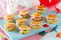 Dairy And Gluten-free Pancake Stacks by Taste. For a recipe the kids will gobble up happily, try these pancake sandwiches. Dairy Free Recipes For Kids, Gluten Free Party Food, Free Kids Meals, Wheat Free Recipes, Gluten Free Recipes, Free Food, Easy Recipes, Healthy Recipes, Mini Sandwiches