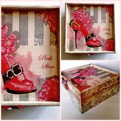 Rendkívül nőies ládika. A karakteres pink cipő motívum harsányságát az oldalakat díszítő visszafogott ezüst ornament minta lágyítja. 17 x 17 x 7,5 cm 4,700 Ft