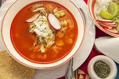 When the Red Pozole with Chicken is served put many ingredients on the table.