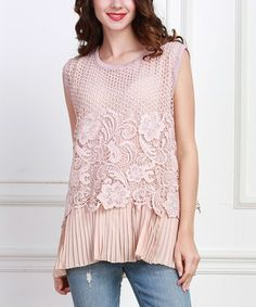 This Pink Embellished Layered Top - Plus is perfect! #zulilyfinds