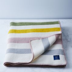 Wool Blend Striped Throw on Food52