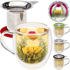 Teabloom Double Wall Glass Mug with Infuser and Lid 2 Gourmet Tea Flowers 15 oz Tea Mug Lid Doubles as Coaster Adorable Gift Set for Tea Lovers >>> Visit the image link more details-affiliate link. Tea Gifts, Flower Tea, Brewing Tea, Tea Infuser, Loose Leaf Tea, Tea Accessories, Tea Mugs, White Elephant Gifts, Fresh Fruit