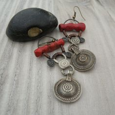 Queen of the Tribes - Metalwork Assemblage Earrings, Coral, Kuchi Gypsy Discs, Spirals