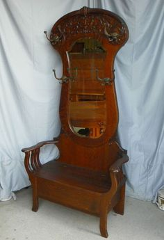 Antique Victorian Oak Hall tree with large mirror Lift Seat for Storage | eBay