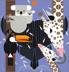 charlie harper art | Store Front > SUBJECTS > Modern > Charley Harper - Zoo Babies