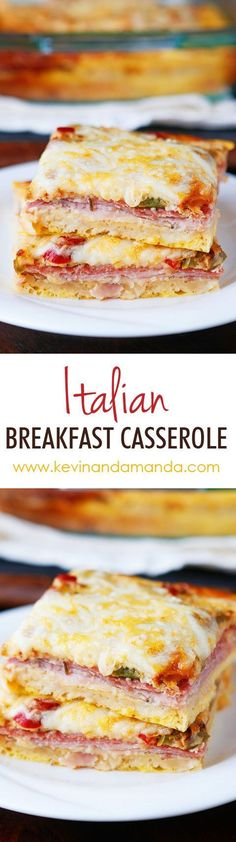 An easy cheesy Italian Breakfast Casserole. Layer crescent rolls ham salami eggs bell peppers and cheese then bake for 30 mins.