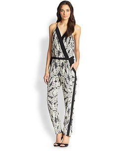c8c4448696 Diane von Furstenberg - Shany Silk Printed Wrap-Effect Jumpsuit - Saks.com  Blanco