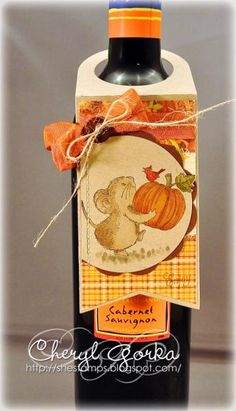 Harvest Mouse Wine Bottle Tag by elizgmom - Cards and Paper Crafts at Splitcoaststampers