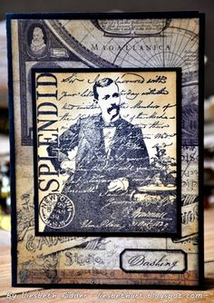 Card by Liesbeth Fidder using Darkroom Door 'Dashing Gents' Rubber Stamps. http://www.darkroomdoor.com/rubber-stamp-sets/rubber-stamp-set-dashing-gents