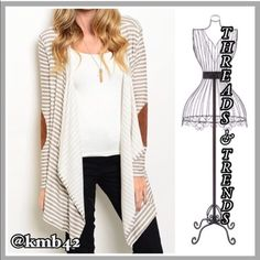 Camel Patch Cardi Super soft and cozy grey & khaki striped cascading lapel cardi with suede camel color patches on elbows. Made of a poly/cotton spandex blend. Size S/M, L/XL Threads & Trends  Sweaters Cardigans