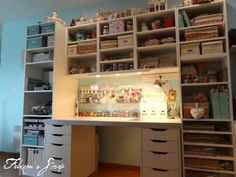 Most of her supplies/work space/storage are in a narrow space - good ideas for the space I'll end up having