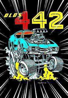 Cartoon Car Drawing, Car Drawings, Cartoon Art, 1969 Oldsmobile Cutlass, Cars Toons, Rat Fink, Garage Design, Automotive Art, Cool Cartoons