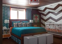 """If the room was large enough, incorporate a queen bed along with the crib.  This works great for new parents who want to be close to their baby and doubles as a guest room when needed. It will also make for an easy transition from nursery to """"big boy"""" room."""