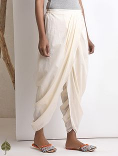 Buy Ivory Elasticated waist Cotton Dhoti Pants by Jaypore Women Online at Jaypore.com