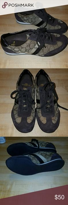 Coach brown sneakers Authentic Brown and tan sneakers. Coach on side of shoes. Also coach C through out the tan part of shoes. Brown shoestrings. These are brand new no tag or box. They have no imperfections. These are perfect for fall and winter. Coach Shoes Sneakers