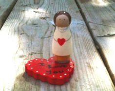 Valentines Peg people doll customizable