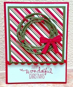 Made for Stampin' Royalty Stripes Challenge #344: http://stampinroyalty.blogspot.com/ The challenge required that the design use stripes in some fashion. Since I'm thinking about all the Christmas cards I need to make, the Nordic Noel holiday striped paper came to mind. The color scheme for the card was taken from the striped DSP. The wreath was made from two die cuts of the largest die from SU Swirly Scribbles set. I made both diecuts from Mossy Meadow, and offset the two spirals by 180...