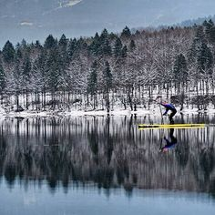 ... cold and snow are not excuses for the most dedicated... SUP, paddleboarding paddle board, paddleboard