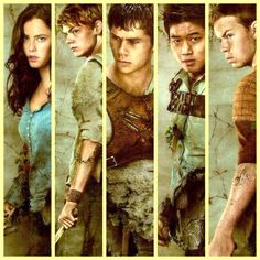 Teresa, Newt, Thomas, Minho, Gally - The Maze Runner - Dylan O'Brien, Thomas Brodie-Sangster, Kaya Scodelario, Will Poulter, Ki Hong Lee.