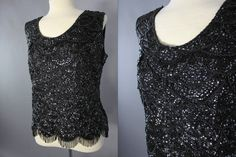60s Beaded Blouse, Black Beaded Tank, Formal Evening Top, Sleeveless Sequin Sweater,1960s Black Top Size M,Wedding Guest Wear,Prom by LadyScarlettsVintage on Etsy
