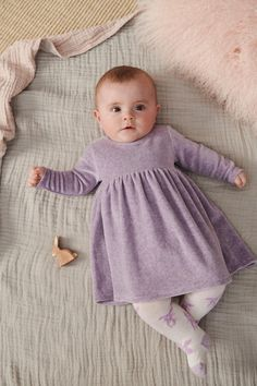 Girls Next Lilac Velour Dress - Purple Preppy Baby Girl, Baby Girl Purple, Baby Girl Fashion, Boy Girl Twin Outfits, Kids Outfits, Kids Winter Fashion, Kids Fashion, Cute Little Baby, Cute Babies