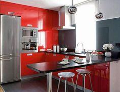 Muebkes de cocina americana rojo con negro
