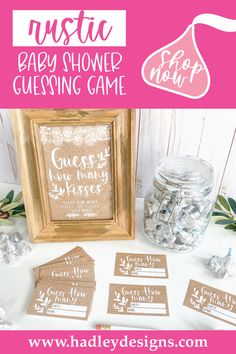 If you want a fun and memorable party game, the rustic gender neutral baby shower guessing game jar cards are for you; white vintage guess how many candy in the jar cards are girl baby shower decorations for girl or baby gender reveal party supplies kit; simple guess how many bridal shower games for guests, man country baby shower games to play, woman kraft guess how many kisses game, minimalist gender reveal games for party, wood lights baby shower ideas, boy kids birthday party games for kids Gender Reveal Games, Gender Reveal Party Supplies, Baby Gender Reveal Party, Gender Neutral Baby Shower, Baby Sprinkle Games, Baby Shower Guessing Game, Baby Shower Decorations Neutral, Wood Lights, Birthday Party Games For Kids