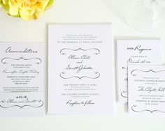 French Country Wedding Invitations in White - Wedding Invitations by Shine