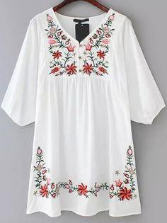 White V Neck Embroidered Loose Dress