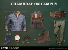 Get a solid casual look for campus that begins with a chambray shirt.